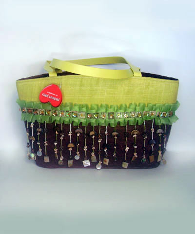 josephine's jewels - BROWN AND LIME HANDBAG